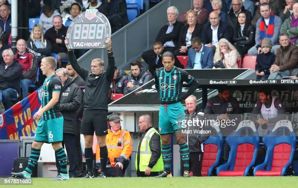 Southampton's Virgil Van Dijk prepares to make his first appearance since injury against Leicester in January during the Premier League match between...
