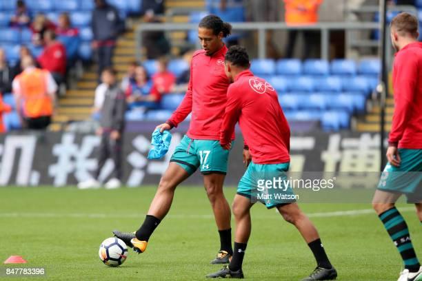 Southamptonâs Virgil Van Dijk warms up during the Premier League match between Crystal Palace and Southampton at Selhurst Park on September 16 2017...