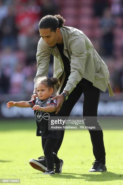 Southampton's Virgil van Dijk with daughter Nila