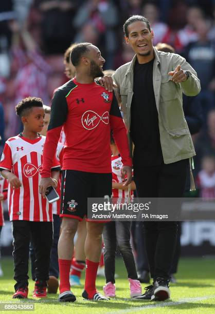 Southampton's Virgil van Dijk with Southampton's Nathan Redmond after the final whistle during the Premier League match at St Mary's Stadium...