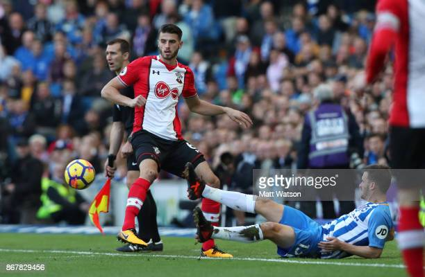 Southamptonâs Wesley Hoedt during the Premier League match between Brighton and Hove Albion and Southampton at the Amex Stadium on October 28 2017 in...