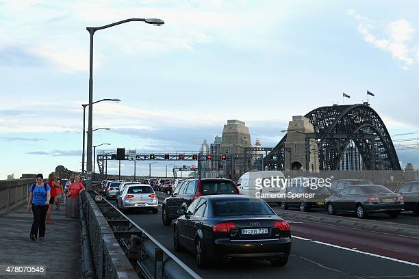 Southbound traffic is gridlocked due to the closure of the Western Distributor because of a fire at Baranagroo on March 12 2014 in Sydney Australia...