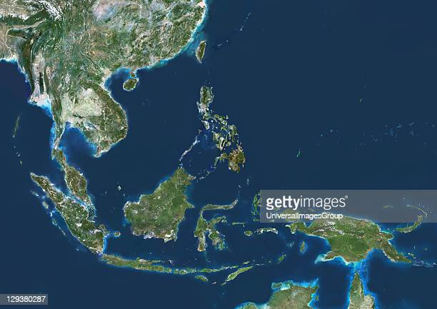 Southeast Asia true colour satellite image This image was compiled from data acquired by LANDSAT 5 7 satellites Southeast Asia True Colour Satellite...