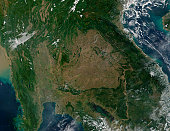November 30, 2001 09/14/2009 Southeastern Asia. The image focuses on the countries of Myanmar, Thailand, Laos, Cambodia, and Vietnam, left to right respectively. In eastern Thailand, the brown colorin