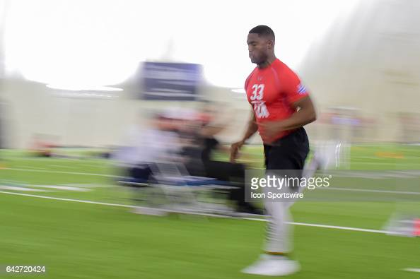 Southeastern Oklahoma safety Kevin Jones runs the 40 yard dash during the 2017 NFL Houston Regional Combine on February 18 2017 at the Texans...