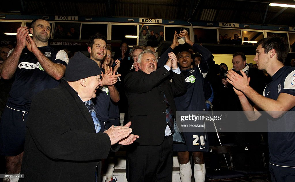 Southend manager Paul Sturrock celebrates after the final whistle during the Johnstone's Paint Trophy Southern Section Final match between Southend United and Leyton Orient at the Roots Hall Stadium on February 20, 2013 in Southend, England.