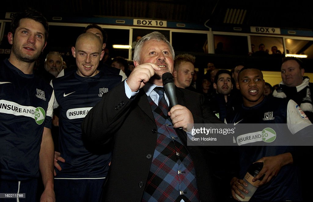 Southend manager Paul Sturrock speaks to the crowd after the final whistle during the Johnstone's Paint Trophy Southern Section Final match between Southend United and Leyton Orient at the Roots Hall Stadium on February 20, 2013 in Southend, England.