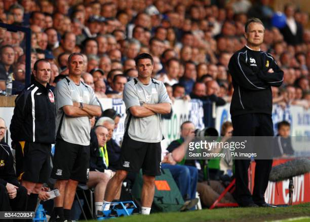 Southend manager Steve Tilson Doncaster manager Sean O'Driscoll during the CocaCola football League One Play Off Semi Final First leg match at Roots...