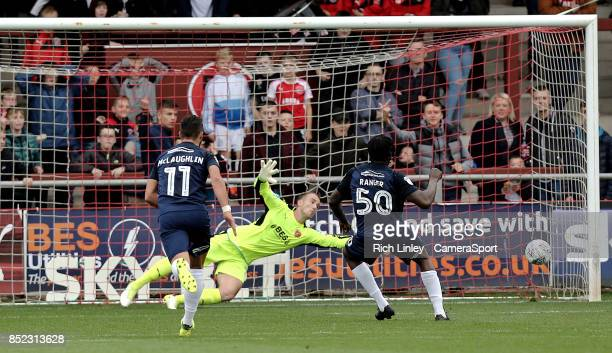 Southend United's Nile Ranger scores his sides third goal from the penalty spot during the Sky Bet League One match between Fleetwood Town and...