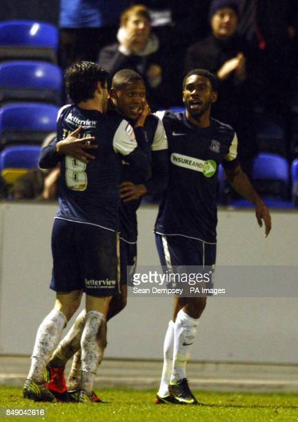 Southends Britt Assombalonga celebrates his goal during the npower Football League Two match at Roots Hall Southend On Sea