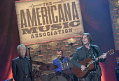 J D Souther and Jackson Browne perform onstage at the 13th annual Americana Music Association Honors and Awards Show at the Ryman Auditorium on...