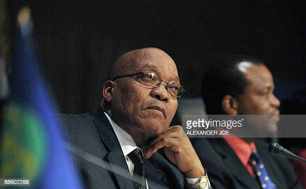 Southern African Development Community chairman South African President Jacob Zuma addresses a press conference in Johannesburg on June 21 2009 at...
