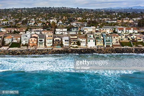 Southern California Oceanfront Neighborhood From Above