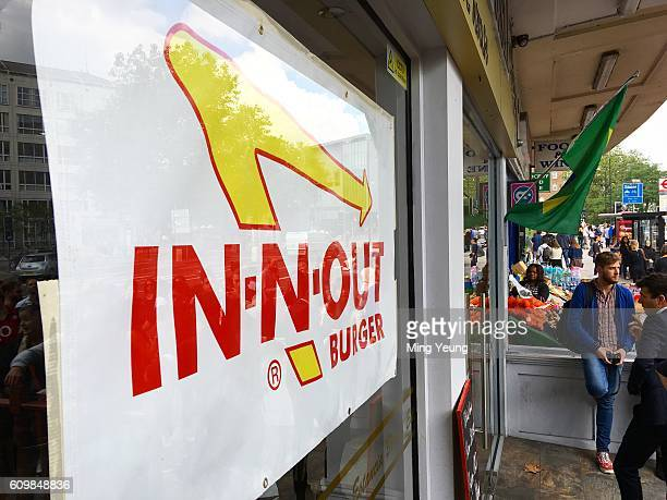 Southern Californian burger chain 'InnOut Burger' open a pop up restaurant in Swiss Cottage London Burger fans were queuing from 9 am for a chance to...