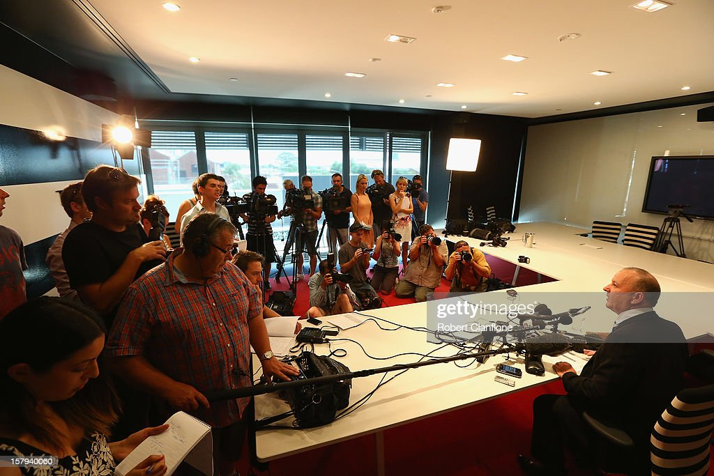 Southern Cross Austereo CEO Rhys Holleran talks to the media during a press conference at Austereo, in Melbourne Australia, on December 8 2012. 2dayFM Radio Presenters Mel Greig and Michael Christian have been taken off air following the suicide of royal nurse Jacintha Saldanha. Nurse Saldana took a prank call from the presenters while working at the King Edward VII Hospital where Catherine, Duchess of Cambridge was receiving treatment.
