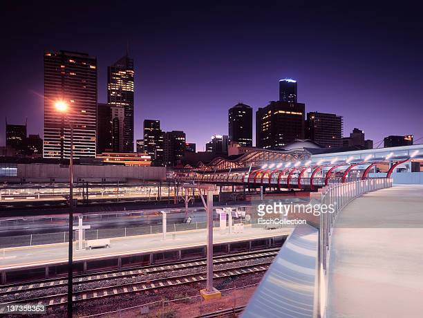 Southern Cross Station with skyline of Melbourne