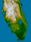 February 2000 - The very low topography of southern Florida is evident in this color-coded shaded relief map generated with data from the Shuttle Radar Topography Mission. The image on the left is a s