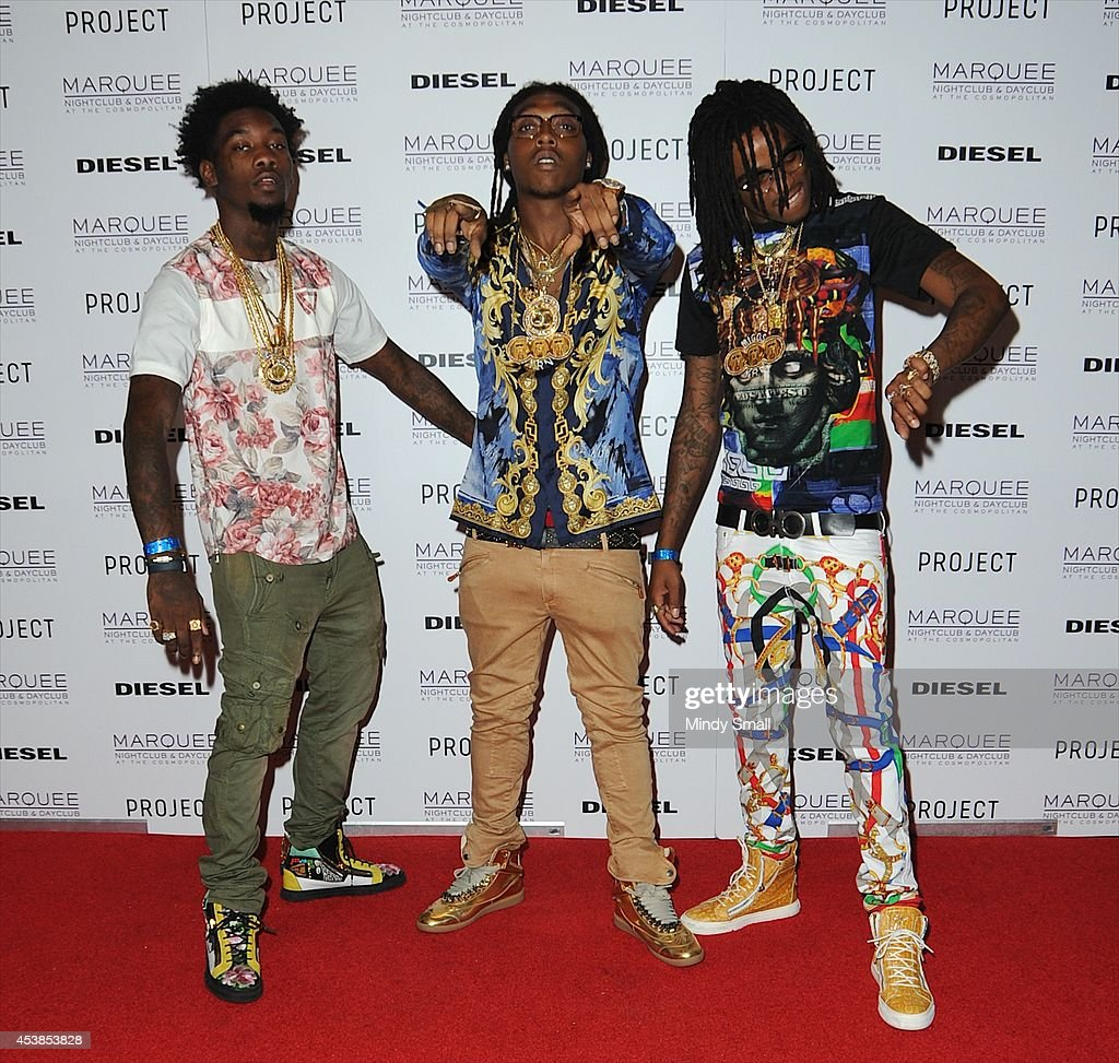 Southern hip hop group Migos members, Offset, Takeoff and Quavo arrive at Marquee Nightclub at The Cosmopolitan of Las Vegas on August 19, 2014 in Las Vegas, Nevada.