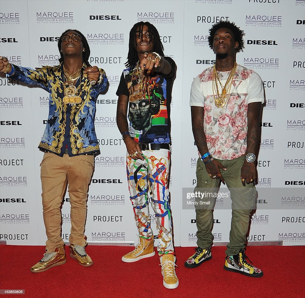 Southern hip hop group Migos members, Takeoff, Offset and Quavo arrive at Marquee Nightclub at The Cosmopolitan of Las Vegas on August 19, 2014 in Las Vegas, Nevada.