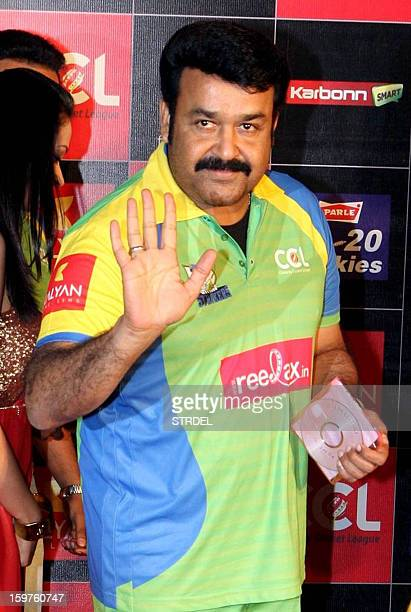 Southern Indian actor Mohanlal gestures during the third season of the Celebrity Cricket League curtain raiser event in Mumbai on January 19 2013 AFP...