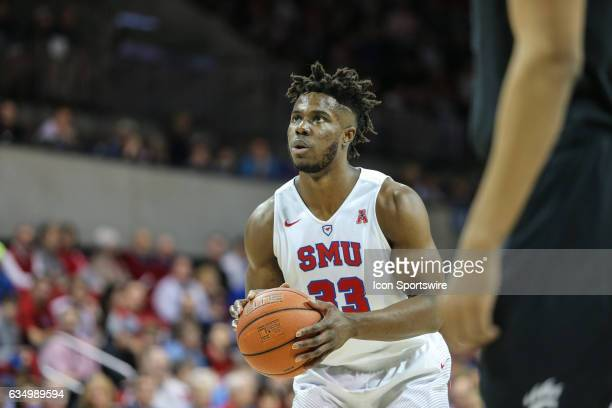 Southern Methodist Mustangs forward Semi Ojeleye shoots a free throw during the men's basketball game between the SMU Mustangs and Cincinnati...
