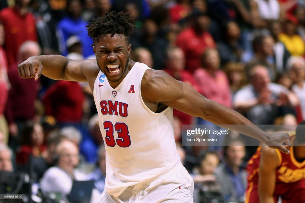 Southern Methodist Mustangs Forward Semi Ojeleye (33) shows emotion after a clutch shot in the waning seconds during the NCAA Division I Men's Basketball Championship first round game between the SMU Mustangs and the USC Trojans on March 17, 2017, at the BOK Center in Tulsa, OK.