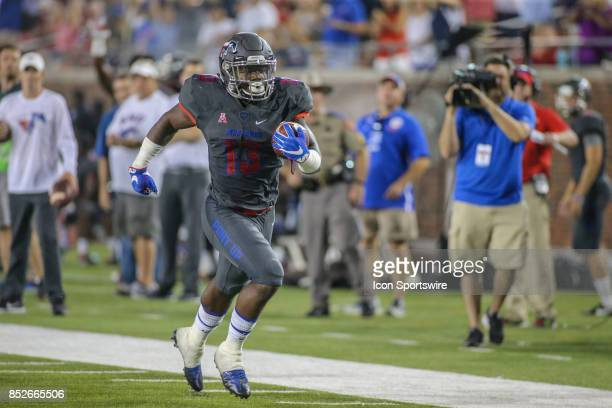 Southern Methodist Mustangs running back Ke'Mon Freeman runs into the end zone during the game between SMU and Arkansas State on September 23 at...