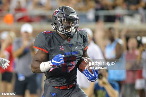 Southern Methodist Mustangs running back Ke'Mon Freeman scores a touchdown during the game between SMU and Arkansas State on September 23 at Gerald J...