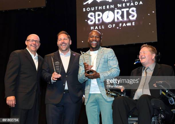 Southern Nevada Sports Hall of Fame Executive Director Dan Dolby Las Vegas Bowl Executive Director John Saccenti boxer Floyd Mayweather Jr and...