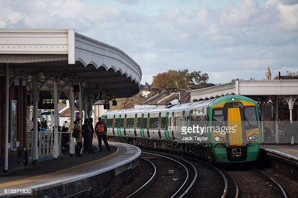 Southern rail train leaves at Selhurst station on October 18 2016 in London England Staff at Southern rail have begun a second threeday strike over...