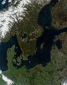 May 1, 2009 - Southern Scandinavia. Near the center of the image is Sweden. To the west is Norway, still covered in ice and snow. Denmark is the peninsula that juts up between Norway and Sweden. The b