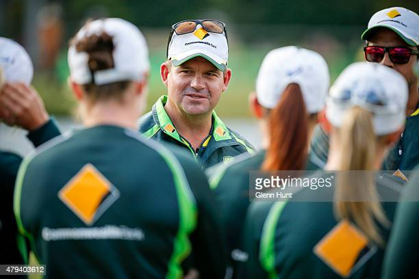 Southern Stars coach Matthew Mott talks to players during the cricket match between the National Indigenous Development Squad and the Southern Stars...