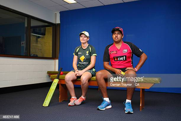 Southern Stars player Jess Jonassen and BBL Rookie Brett Russell give a cricket clinic at the School of the Air in Alice Springs during the 20415...