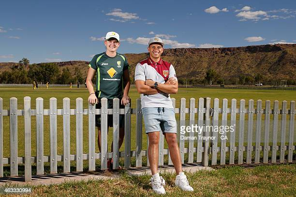 Southern Stars player Jess Jonassen and Queensland Bulls/Australian player Usman Khawaja pose for a photo during the 20415 Imparja Cup on February 12...