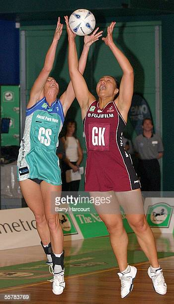 Southern Stings Tania Dalton and the Forces Linda Vagana reaching for the high pass during the final of the National Bank netball cup at Invercargill...