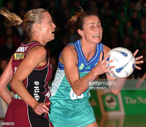 Southern Stings Tania Dalton beats Kate Dowling to the ball during the final of the National Bank netball cup at Invercargill between The Sting and...