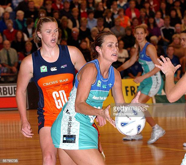 Southern Stings Tania Dalton takes the pass as Cometz Cushla Lichtwark closes in during the National Bank Cup netball at Invercargill The Sting...