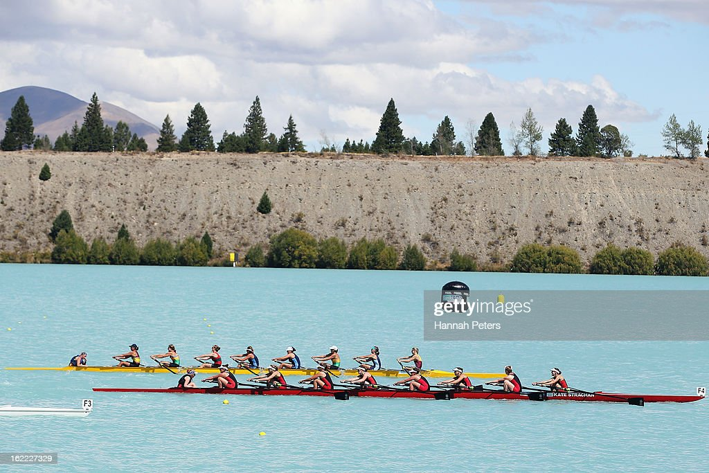 Southern win the Women¿s U22 8 final against Central during day three of the New Zealand Rowing Championships at Lake Ruataniwha on February 21 2013...