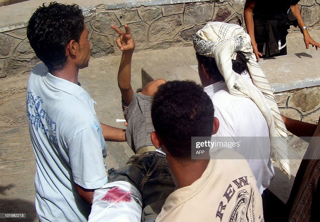 Southern Yemeni protesters carry one of three people injured during clashes with police at a demonstration in Daleh, 280 kms south of the capital Sanaa, on June 03, 2010, as they called for independence from the north. South Yemen has been the site of repeated protests in recent months by activists who complain of discrimination by northerners, and demand independence or increased autonomy.