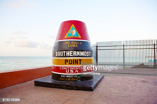 Southernmost point in continental USA in Key West : Stock Photo