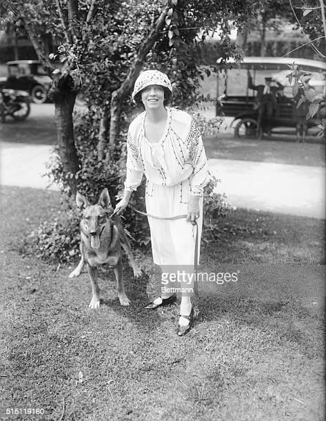 Miss Elizabeth Arden with 'Don Caesar' Alstation wolf hound