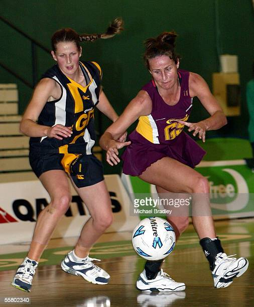 Southlands Tania Dalton looks to pounce on the loose ball ahead off Wellingtons Kathy Newnam during the netball match between Southland and...