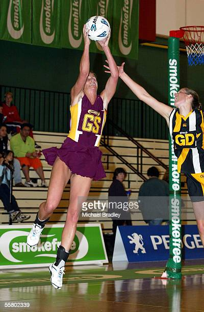 Southlands Tania Dalton secures the ball ahead off Wellingtons Kathy Newnam during the netball match between Southland and Wellington in the...