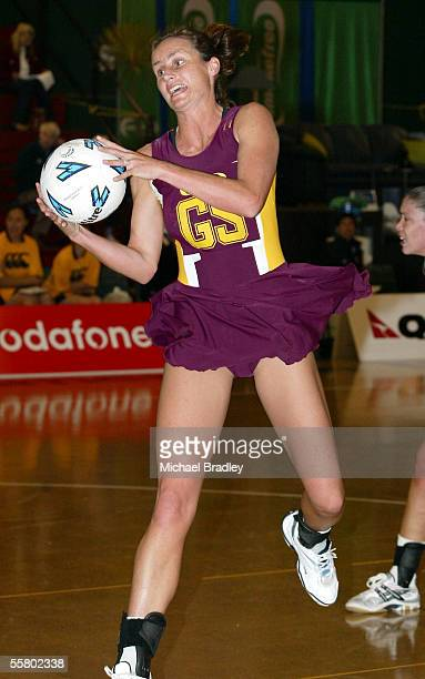 Southlands Tania Dalton secures the ball during the netball match between Southland and Wellington in the Smokefree Champs held at Arena Manawatu...
