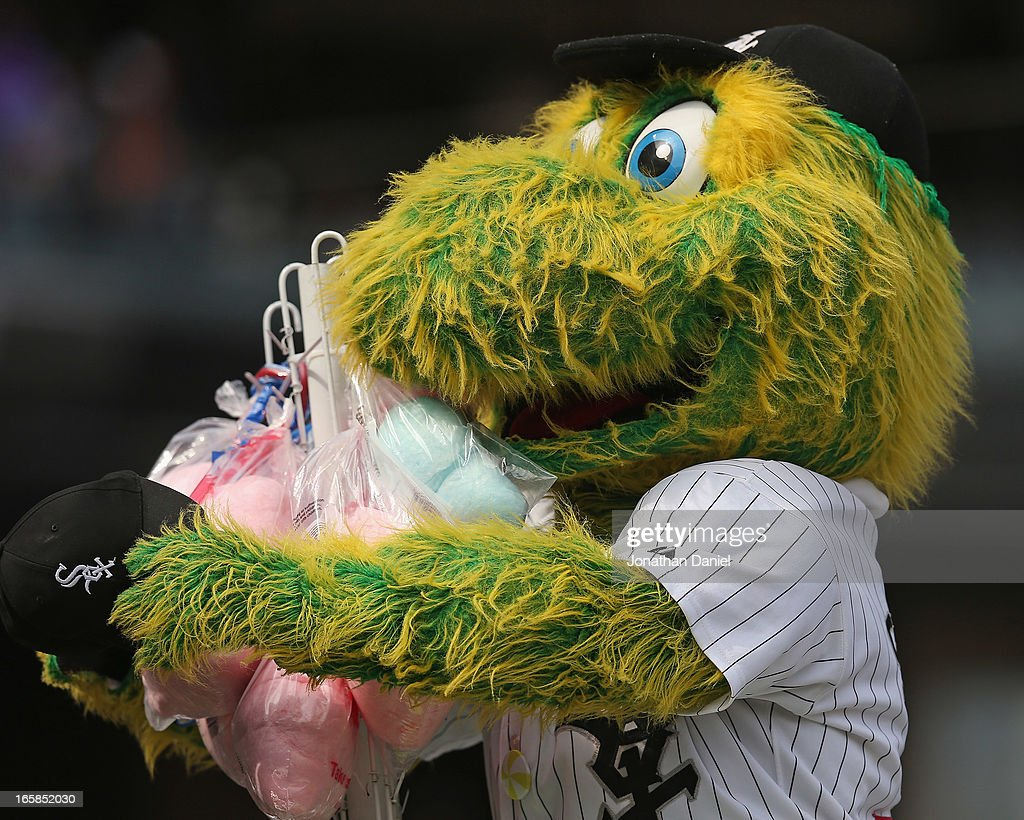'Southpaw,' the mascot for the Chicago White Sox, hugs bags of cotton candy during a game between the White Sox and the Seattle Mariners at U.S. Cellular Field on April 6, 2013 in Chicago, Illinois. The White Sox defeated the Mariners 4-3.