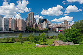 Queensboro Bridge in New York City, connecting Midtown Manhattan with Roosevelt Island and Queens. the bridge is seen from Southpoint Park on Roosevelt Island.