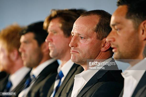Souths coach Michael Maguire speaks to the media during a press conference at the 2014 NRL Grand Final lunch at The Star on October 2 2014 in Sydney...