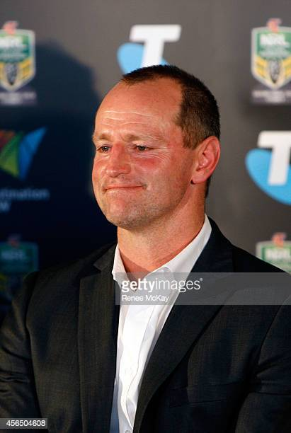 Souths coach Michael Michael Maguire smiles during a press conference at the 2014 NRL Grand Final lunch at The Star on October 2 2014 in Sydney...