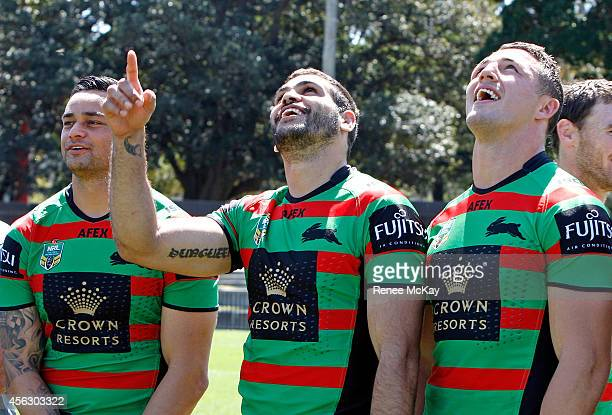 Souths players John Sutton Greg Inglis and Sam Burgess look up at a drone taking their photo during a South Sydney Rabbitohs NRL media session at...