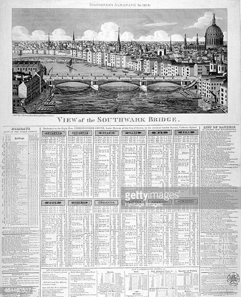 Southwark Bridge London 1818 From the Stationer's Almanac for the year 1818 with a printed calendar
